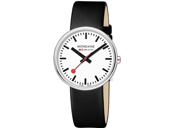 Mondaine Watch, MSX.3511B.LB, Giant, 35mm, Black Leather Strap