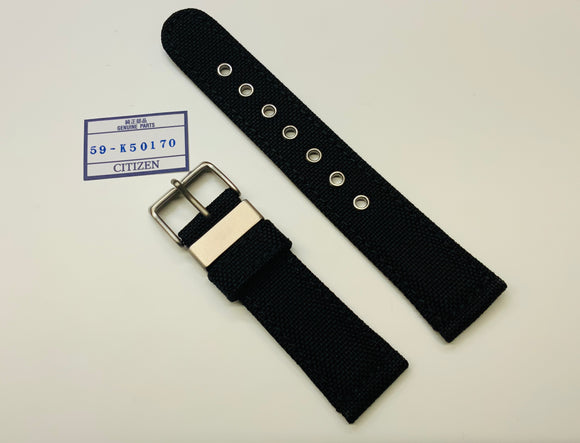 Citizen, Titanium , 22mm, Nylon / Leather Watch Strap, Black, Eco Drive, AT0660-05E