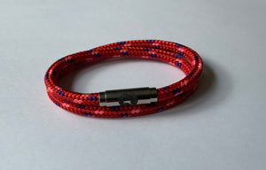 Boing, Bracelet, Skinny, Double Wrap, Deep Red with touch of Pink and Blue Colour