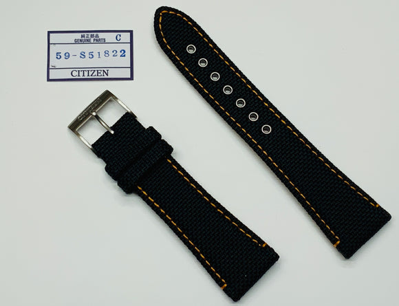 Citizen, Sport, 22mm, Replacement Strap, Black Nylon Orange Stiching AT0607-08E