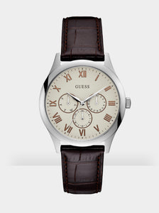 Guess W1130G2 Watson, Gents, Leather Srap, White Dial