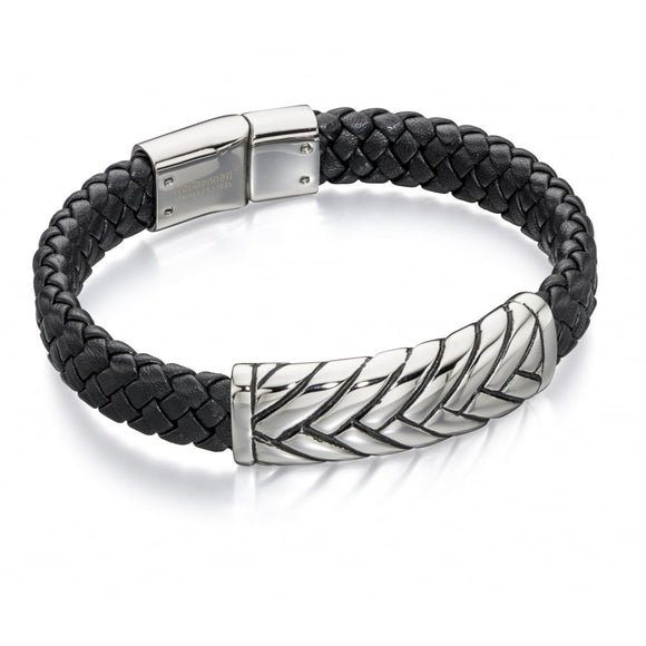 Fred Bennett, B4722, The Maverick, Leather & Oxidised Gents, Bracelet, jewellery