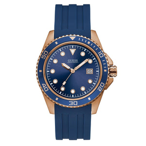 Guess W1109G3  Crew Watch, Rose Gold, Blue Silicon