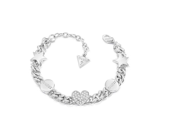 Guess Jewellery, UBB84075-L, Love Chain, Ladies',Silver Plated, Bracelet