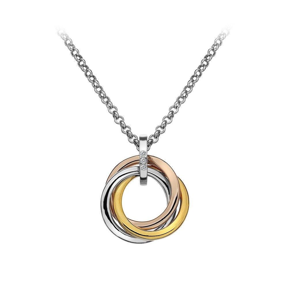 Hot Diamonds, DP544, Trío, Tri colour, Sterling Silver, Pendant, Necklace, Rose Gold