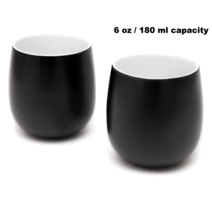 Double Walled Coffee and Tea Cups, set of 2 BLACK 6oz/180ml - Insulated Ceramic Cups