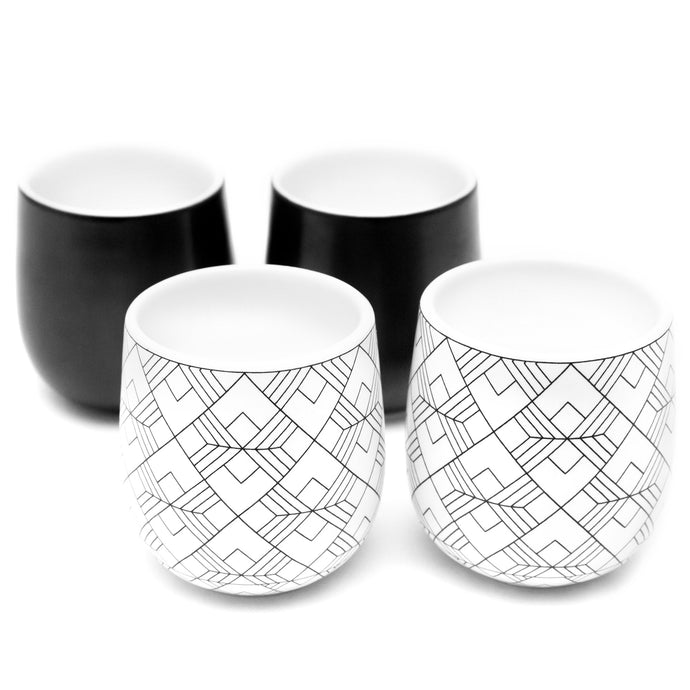 Dobbelt Set of 4 Double Wall Espresso Cups - 2 BLACK and 2 SQUARE Pattern 2 oz / 60 ml