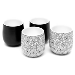 Double Walled Espresso Coffee and Tea Cups, set of 4 - 2 BLACK and 2 CIRCLE 2 oz/60 ml - Insulated Ceramic Cups