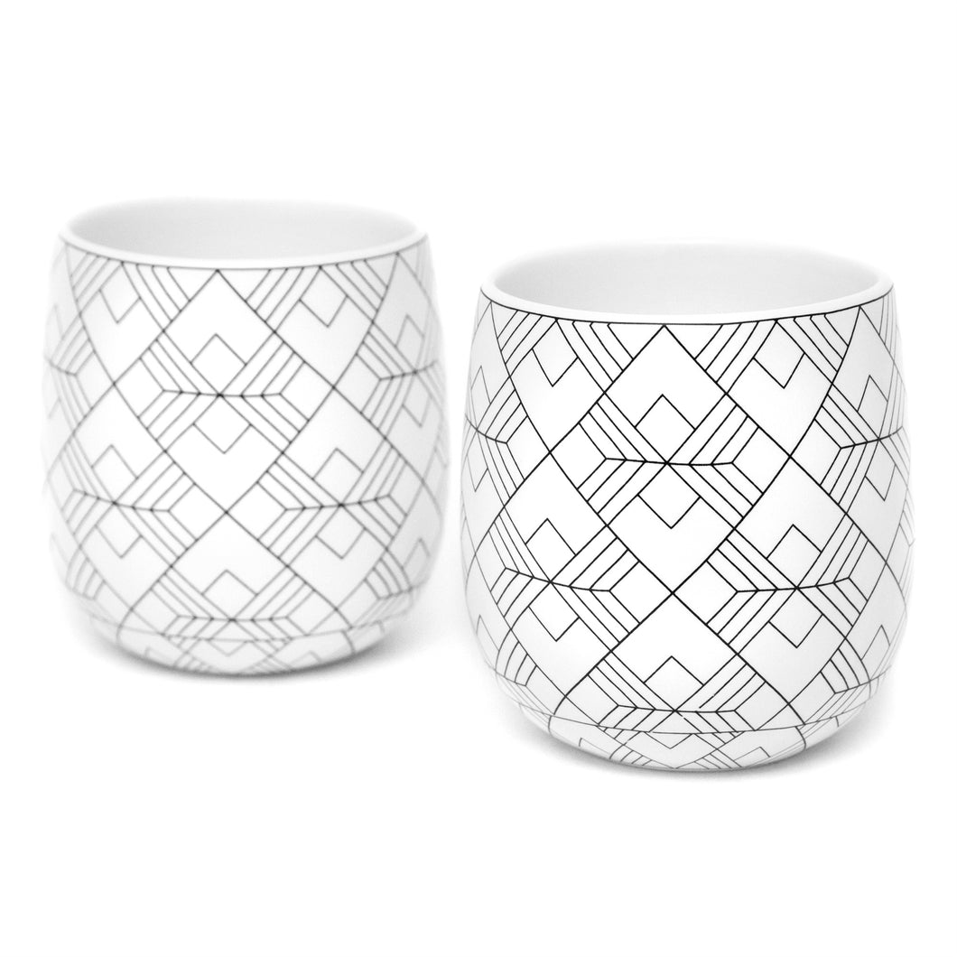 Dobbelt 2 Set Double Wall Coffee Cups SQUARE Pattern 6oz/180ml