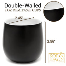 Dobbelt Set 2 Double Wall Cups Espresso BLACK 2oz/60 ml