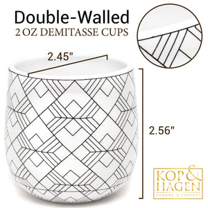 Dobbelt Set 2 Double Wall Espresso Cups SQUARE Pattern 2oz / 60 ml