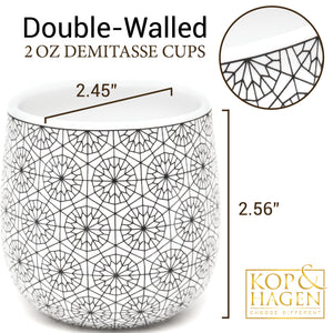 Dobbelt 2 Set Double Wall Espresso Cups CIRCLE Pattern 2oz/60 ml