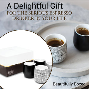 Dobbelt Set of 4 Double Wall Espresso Cups  - 2 BLACK and 2 CIRCLE Pattern 2 oz / 60 ml