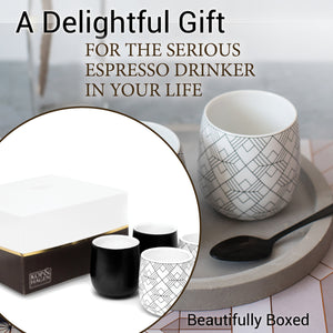 Double Walled Espresso Coffee and Tea Cups, set of 4 - 2 BLACK and 2 SQUARE 2 oz/60 ml - Insulated Ceramic Cups