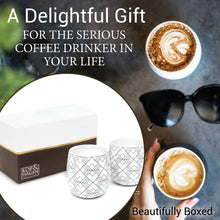 Dobbelt Set 2 Double Wall Coffee Cup SQUARE Pattern 6oz/180ml