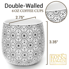 Double Walled Coffee and Tea Cups, set of 2 CIRCLE 6oz/180ml - Insulated Ceramic Cups