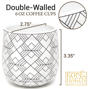 Double Walled Coffee and Tea Cups, set of 2 SQUARE 6oz/ 180ml - Insulated Ceramic Cups