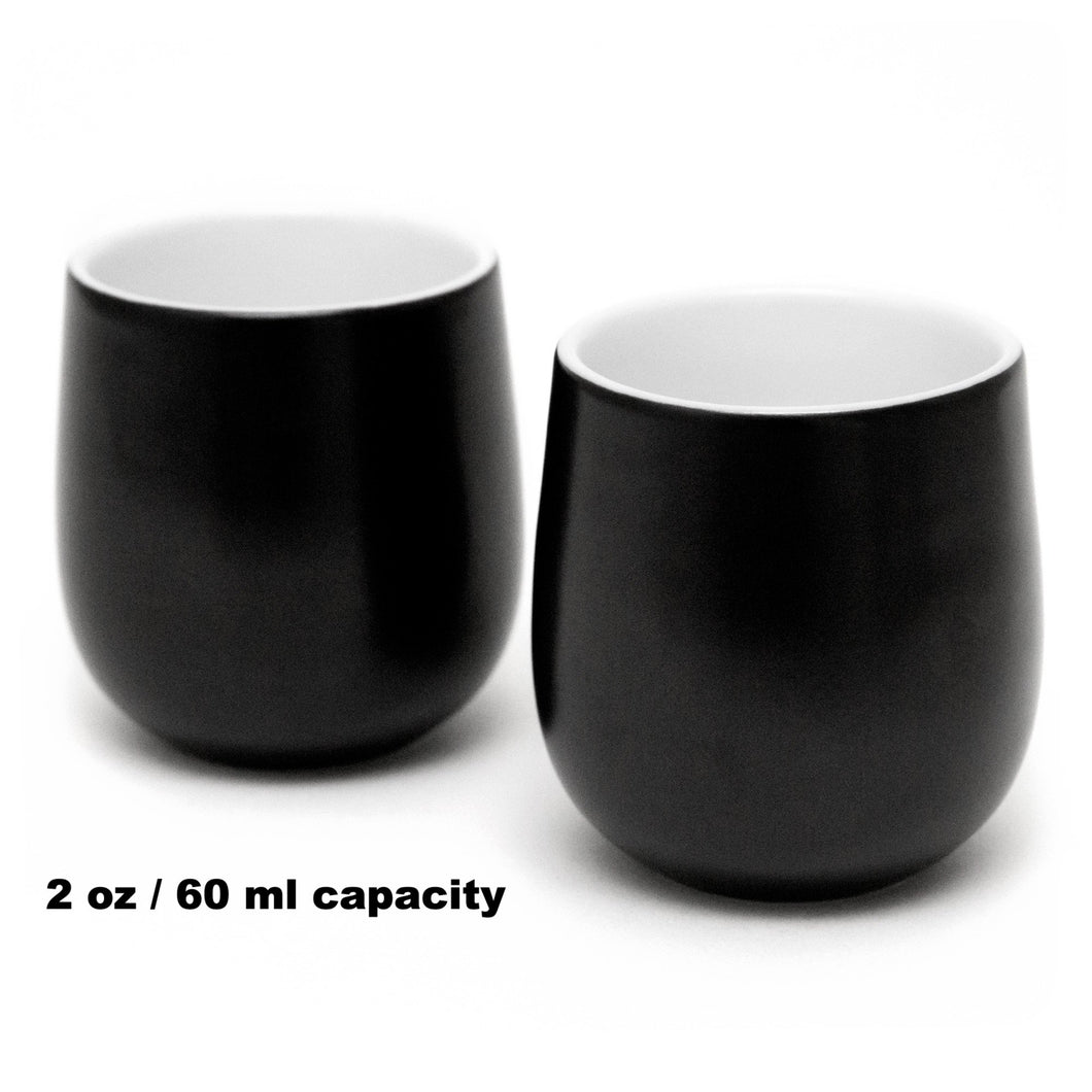 Double Walled Espresso Coffee and Tea Cups, set of 2 BLACK 2oz/60 ml - Insulated Ceramic