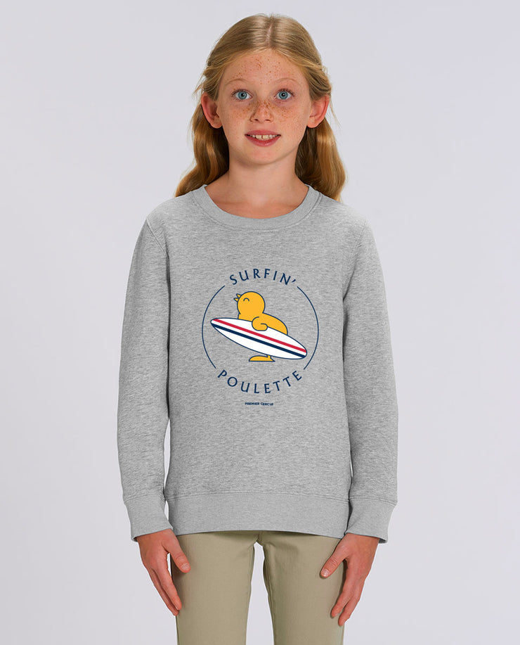 Surfin'Poulette sweat-shirt enfant en coton bio