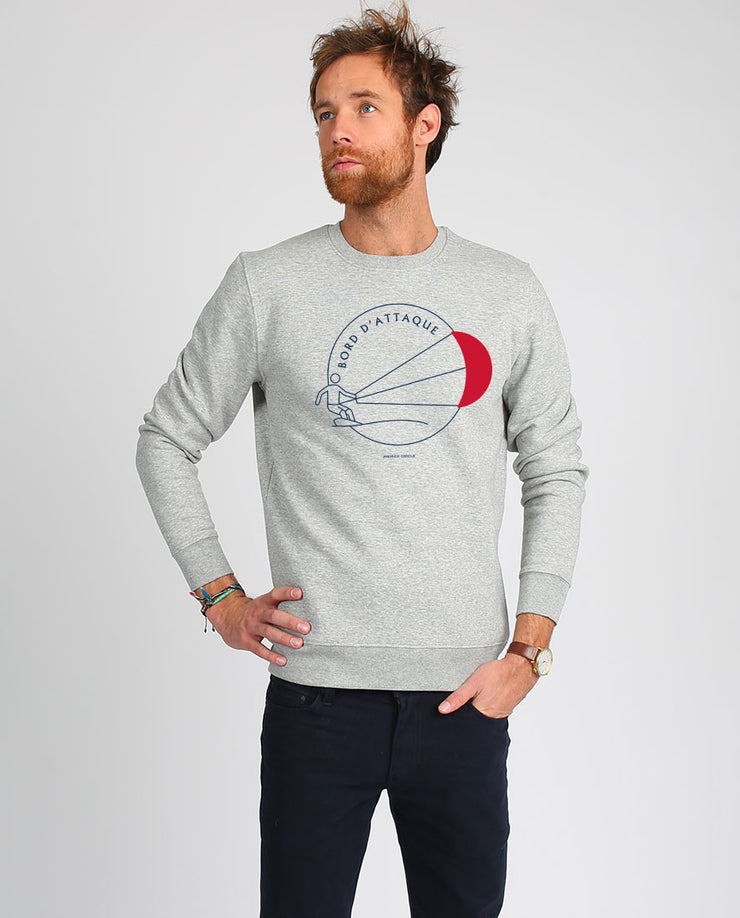 Sweat-shirt homme en coton bio Bord d'attaque imprimé en France