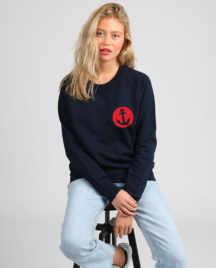 Ancre écusson sweat-shirt femme velours en coton bio