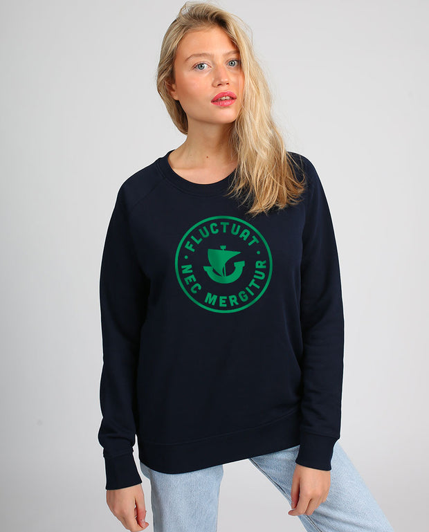 Fluctuat Nec Mergitur sweat-shirt femme en coton bio et velours