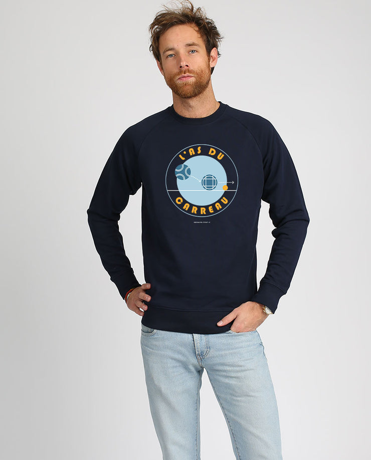L'as du carreau sweat-shirt homme bleu marine imprimé en France et en coton bio par Premier Cercle