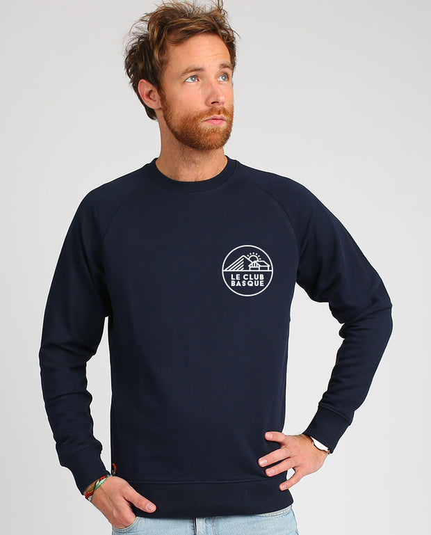 club basque écusson sweat-shirt homme velours en coton bio