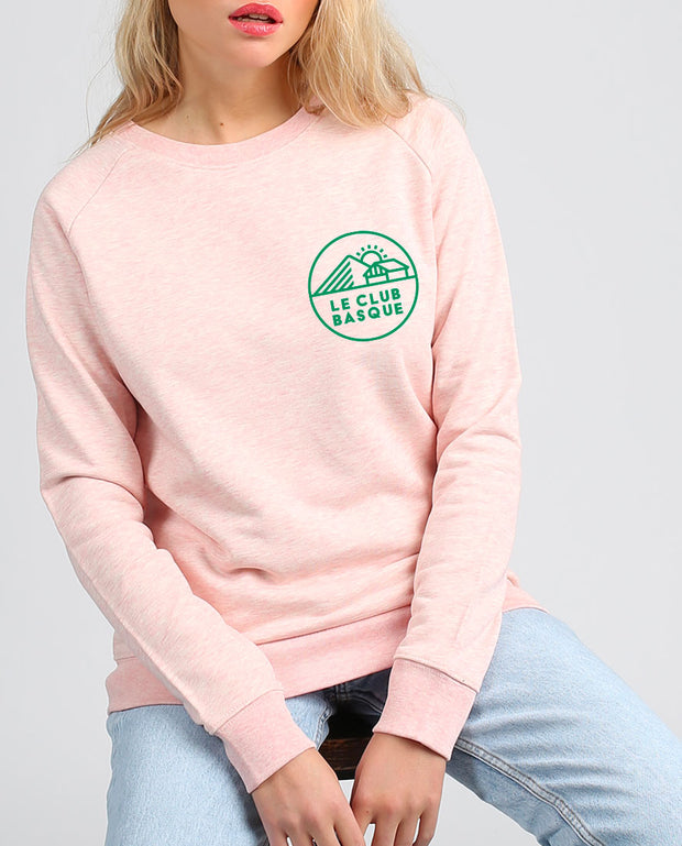 club basque écusson vert sweat-shirt femme velours en coton bio