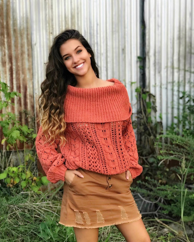 Ribbed Chenille Off Shoulder Sweater