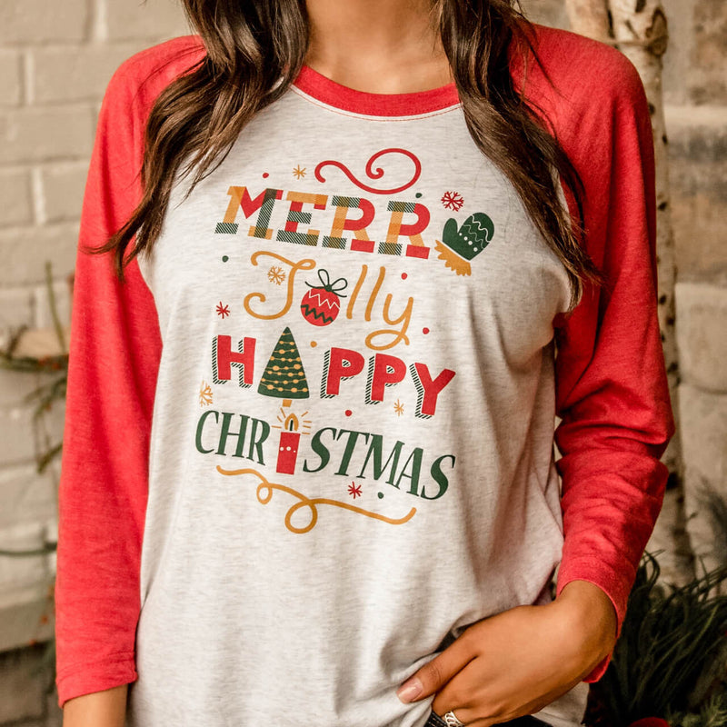 Merry Jolly Happy Christmas Raglan