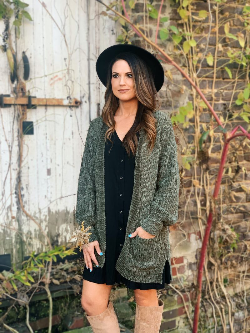 FALL-idays Ribbed Chenille Cardigan OLIVE