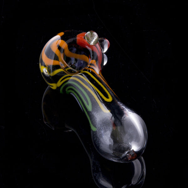 "4.5"" Inside-out black frit pipe with rainbow colored strips and marbles"