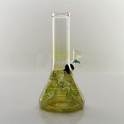 "8"" Tall silver fumed color changing wrap-and-rake 9mm pull-stem beaker water-pipe"