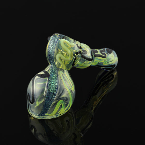 "7"" Inside Out Fumed Dichro and Green Slyme Hammer Bubbler"