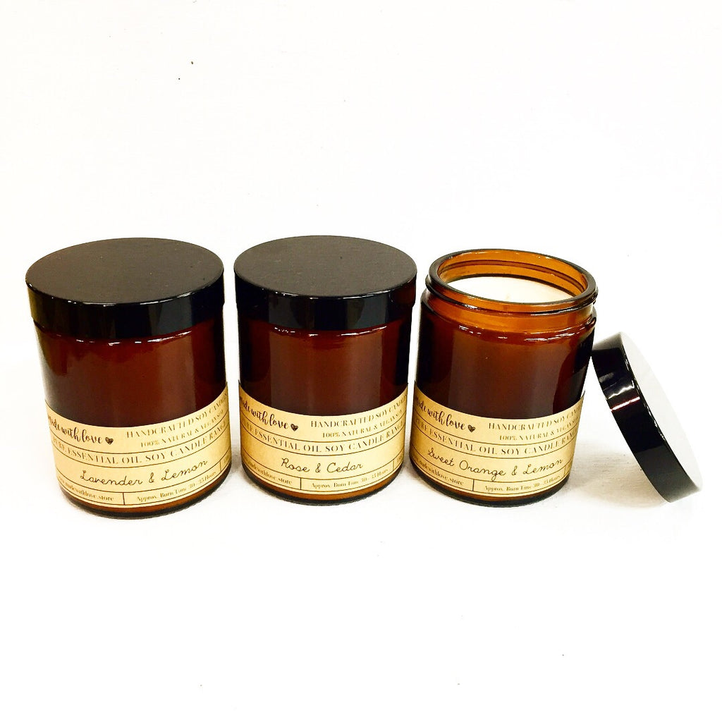 Essential Oil Soy Candles in Amber Jars SALE