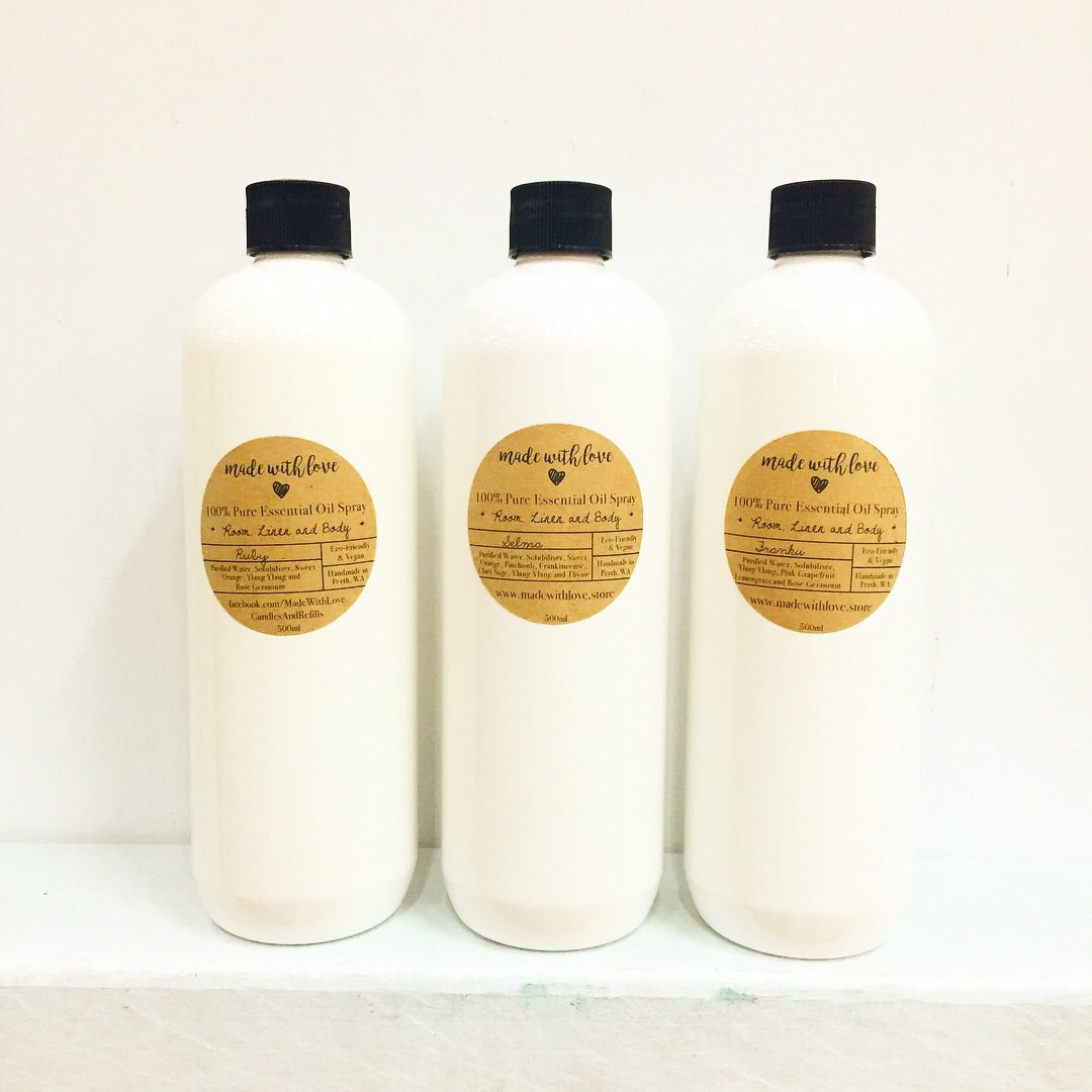 500ml Refill Bottles for our Natural Sprays with Essential Oils