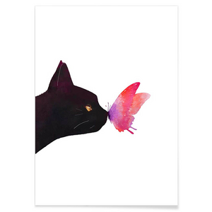 Cat & Butterfly - Canvas Print - Bahia Investments