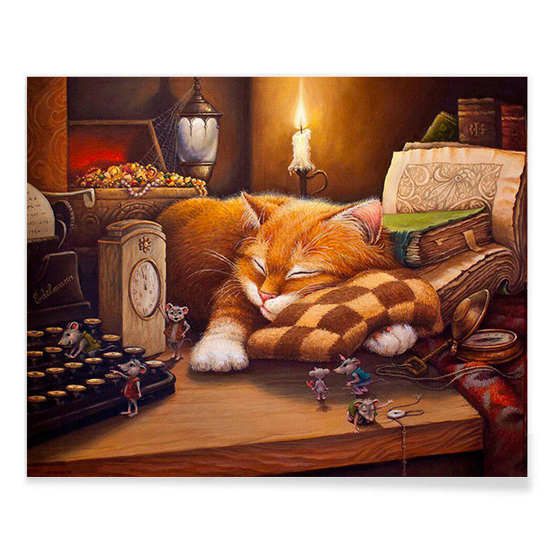 Sleeping Cat - DIY Paint By Numbers - La-tonnelle-bormes