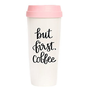 But First Coffee Travel Mug, Pink, Gift for Boss, Gift for Her, Coffee First, Coffee Mugs, Travel Tumbler, Mugs, Back To School, Coffee Mug
