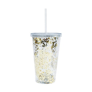 Gold Glitter Acrylic Tumbler Metallic Mug Travel Mug Gift for Boss Gift for Her Girl Boss Coffee Mugs Travel Tumbler Glitter Mug Gold Foil