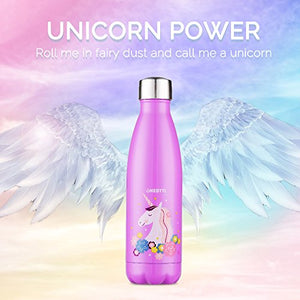 Unicorn Gifts, Stainless Steel Water Bottle (17oz/500ml), Double Wall Vacuum Insulated Thermo Bottle for Unicorn Party and Birthdays - Onebttl Aqua UnicornPower
