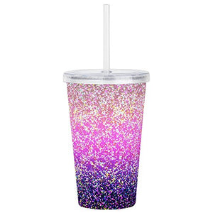 CafePress - Acrylic Double-Wall Tumbler Glitter 6 - Insulated Straw Cup, 20oz Acrylic Double-Wall Tumbler