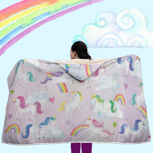 Whimsical Fantasy ~ Unicorn Hooded Blanket ~ Warm & Cozy, Sherpa-Lined