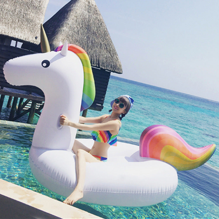 Giant Inflatable Unicorn Pool Float in Rainbow Colors