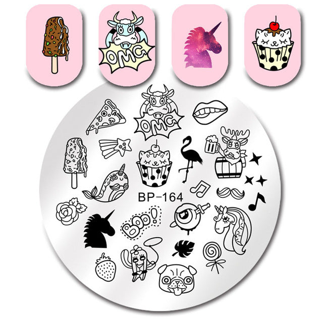 BORN PRETTY Round Nail Stamping Plate Unicorn Flamingo Diamond Fruit Manicure Nail Art Image Plate