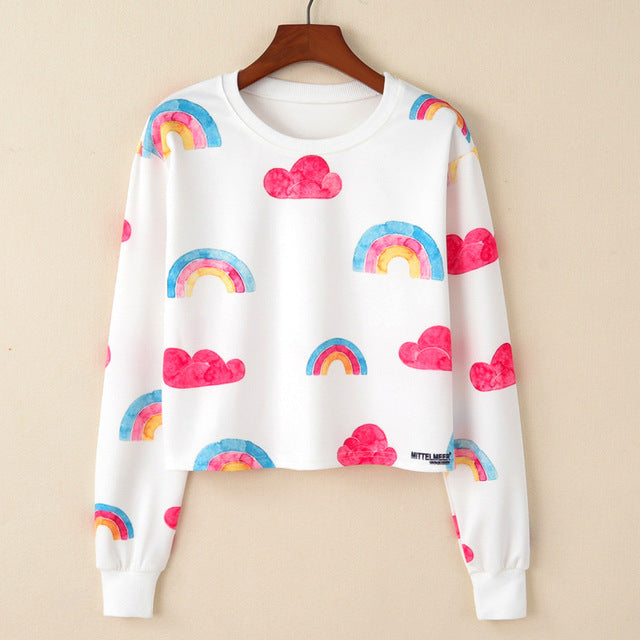 Happy Rainbow Crop Sweatshirt