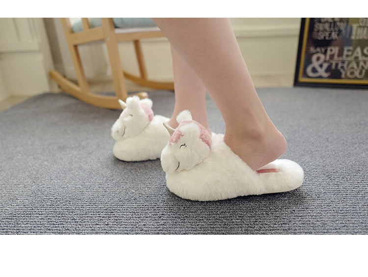 Millffy Winter plush unicorn slippers shoes