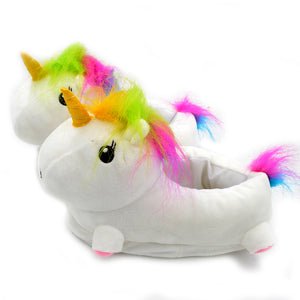 Plush unicorn home slippers LED shoes