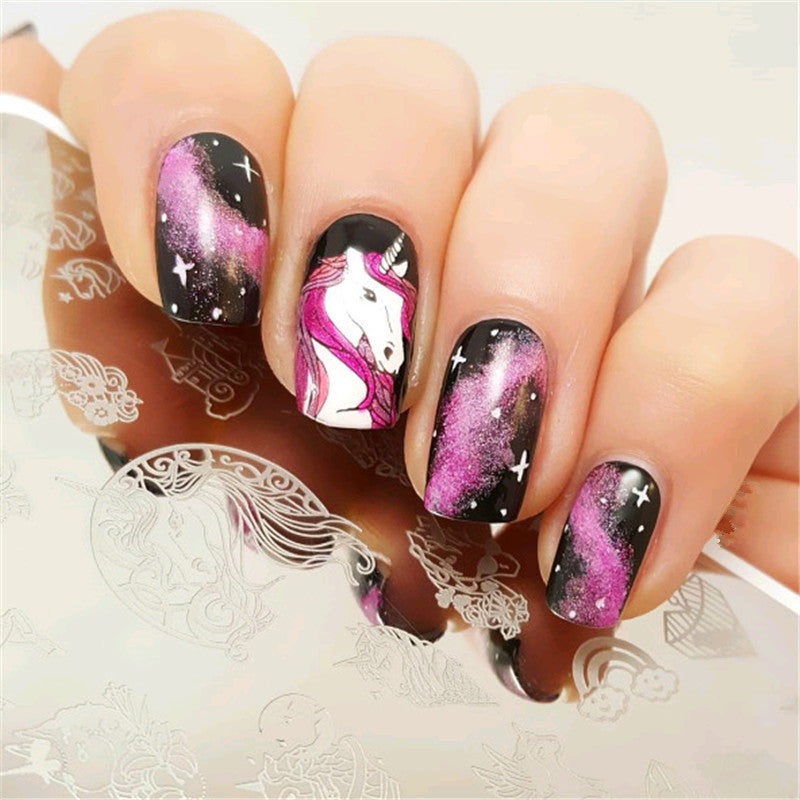 1Pc Rectangle Nail Stamping Plate Unicorn Flower Paisley SKull Rose Template Nail Art Image Plate Stencil for Stamp Polish DIY